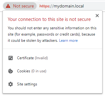 Chrome invalid certificate warning