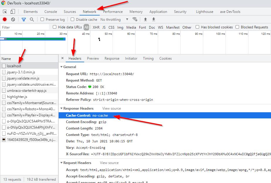 Dev Tooks Cach Control Header